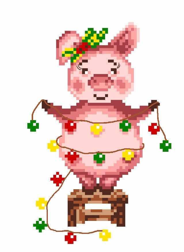 1946 Свинка - рисунок на канве (МП)