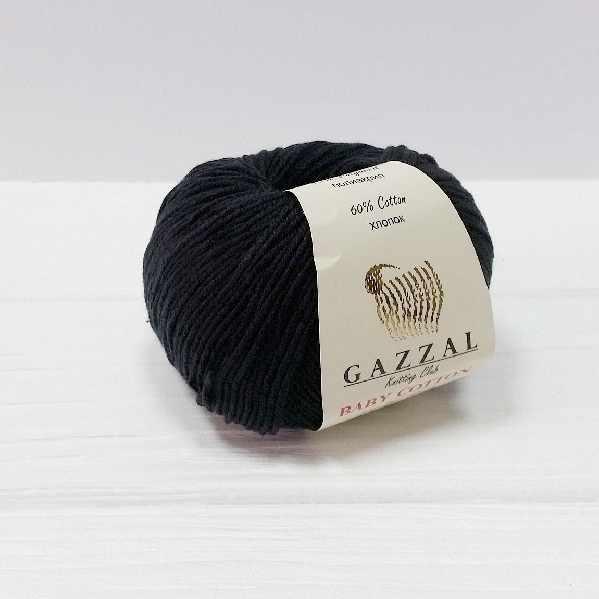 Пряжа GAZZAL Baby Cotton Gazzal Цвет.3433 Черный