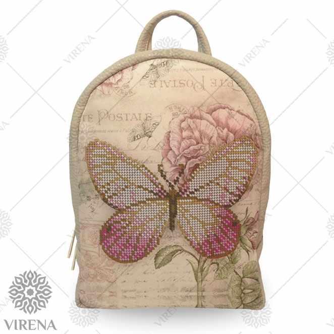 Рюкзак_205 Набор для вышивания на мини-рюкзаке. Бежевый. Бабочка