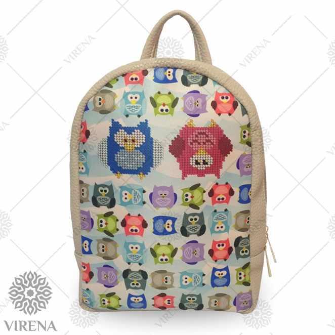 Рюкзак_204 Набор для вышивания на мини-рюкзаке. Бежевый. Совы