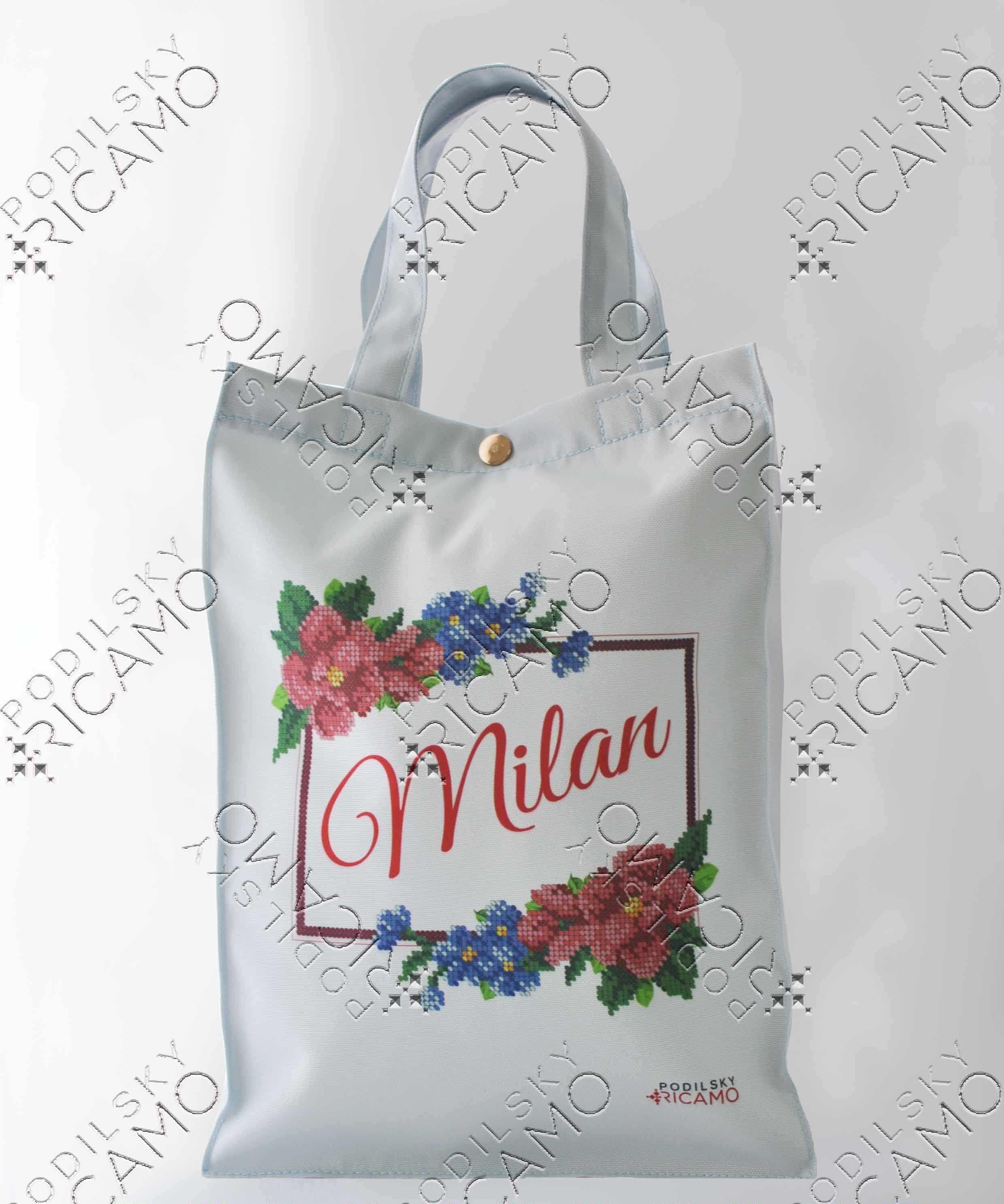 ЕКП_108 Набор для вышивания на Эко-сумке. Белый. Милан