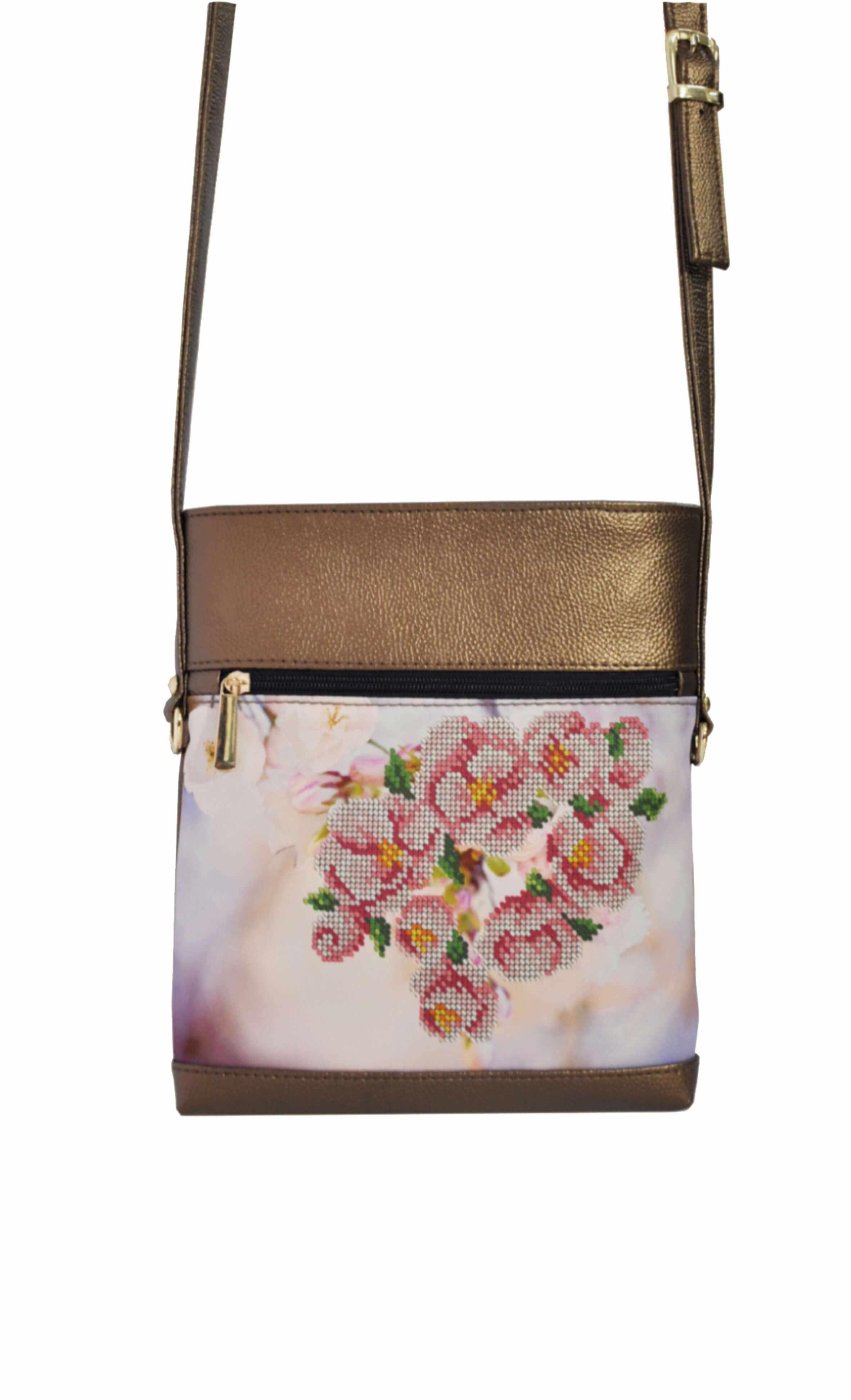 САБ-8003 Набор для вышивания на сумке. Темно-коричневое золото. Весна