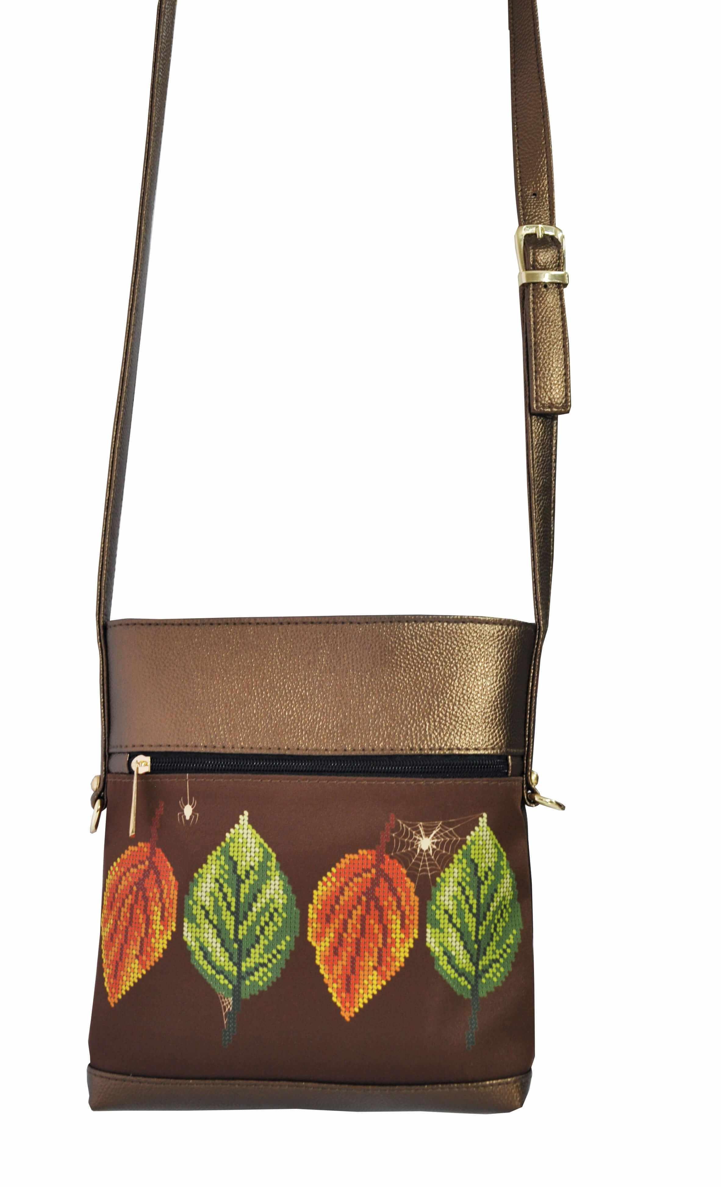 САБ_8001 Набор для вышивания на сумке. Темно-коричневое золото. Листья
