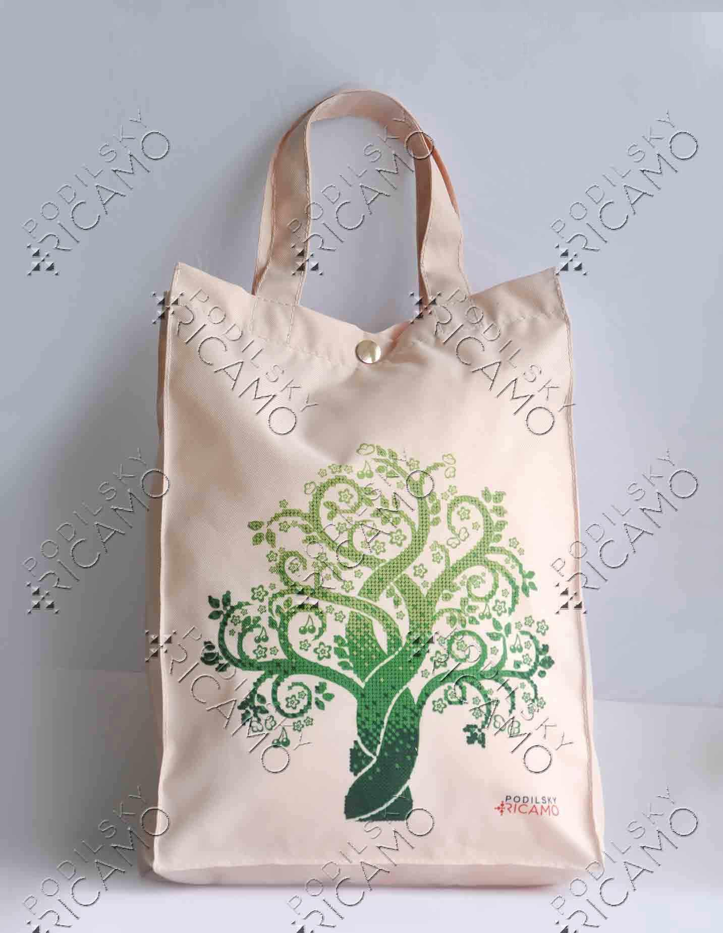ЕКП_103 Набор для вышивания на Эко-сумке. Бежевый. Дерево