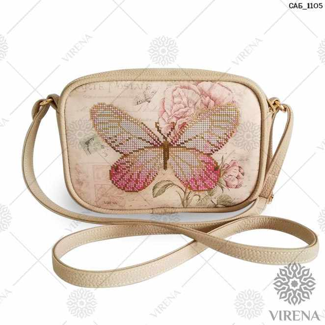 САБ_1105 Набор для вышивания на сумке. Бежевый. Бабочка