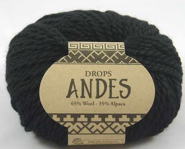 Пряжа DROPS Andes Цвет.8903 Чёрный