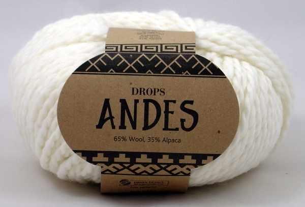 Пряжа DROPS Andes Цвет.1101 Белый