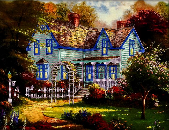 """FLS-006 Схема для вышивания бисером """"Загородный дом"""""""
