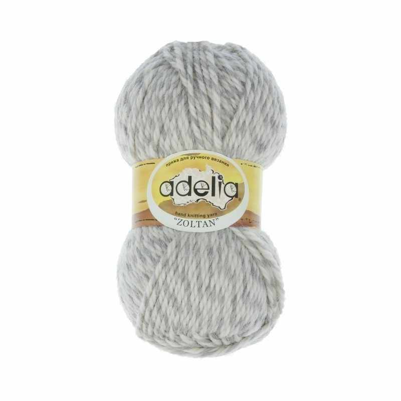 Пряжа Adelia Zoltan Цвет.115 Серый-белый