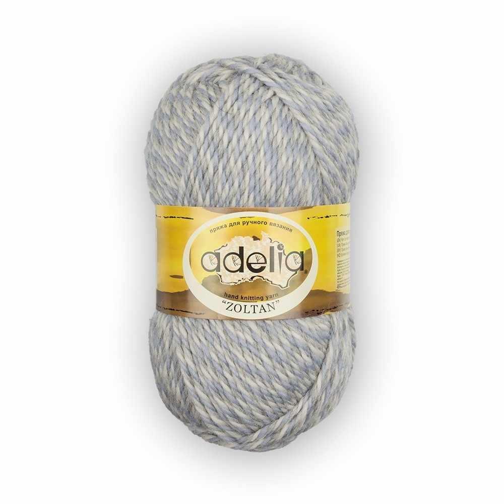 Пряжа Adelia Zoltan Цвет.128 Белый-серый-светло голубой