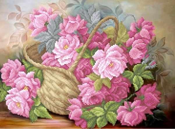 ЗПК-039 Розы в корзине - схема для вышивания (Золотая подкова)