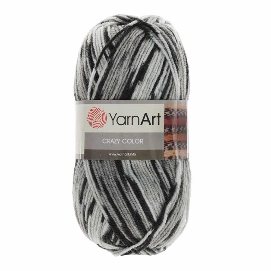 Пряжа YarnArt Crazy Color Цвет.137 Серый меланж