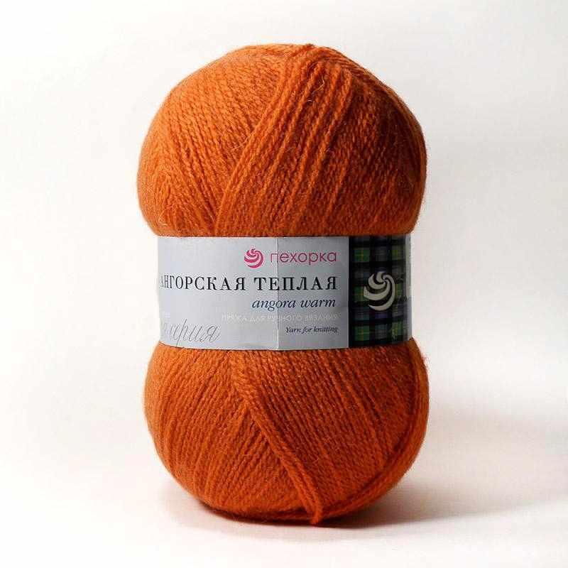 Пряжа Пехорка Ангорская теплая Цвет.189 Ярко-оранжевый