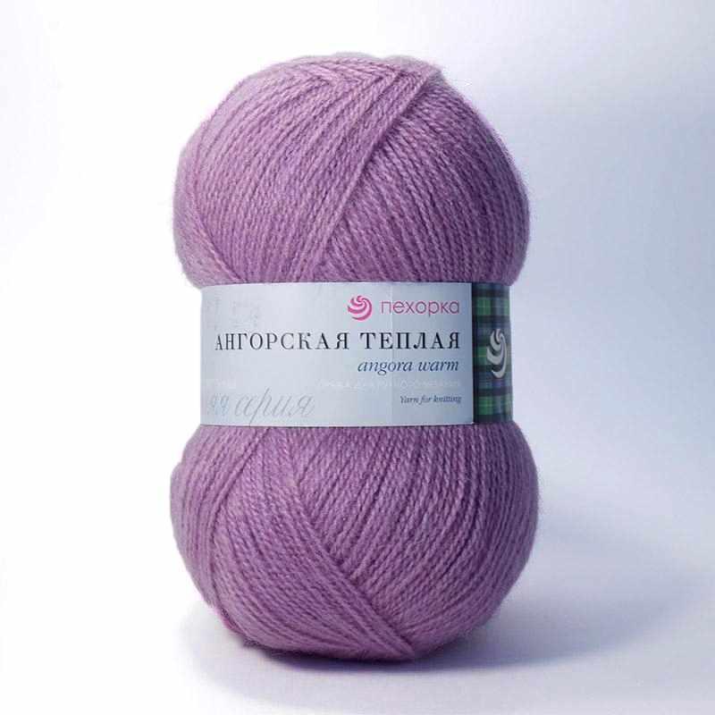 Пряжа Пехорка Ангорская теплая Цвет.29 Розовая сирень