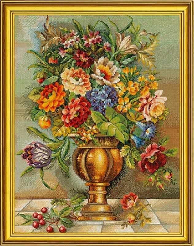"""12-587 """"Цветы в бронзовой вазе"""""""