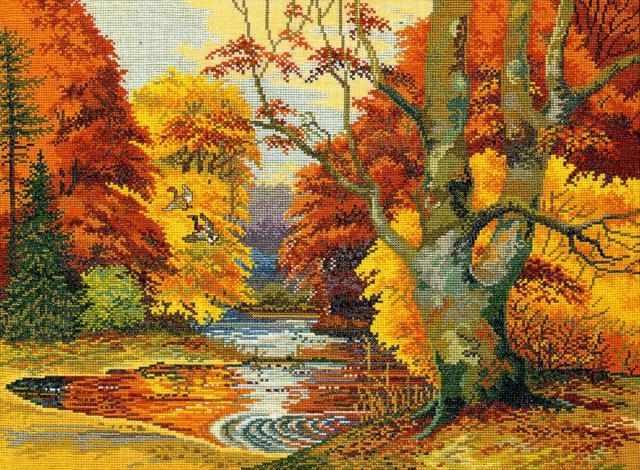 """12-496 """"Золотая осень""""(Лесное озеро)"""