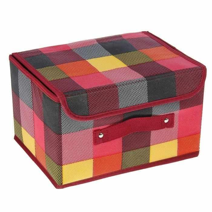"""1550864 Короб для хранения, с крышкой 26х20х16 см """"Клетка"""", цвет розовый"""