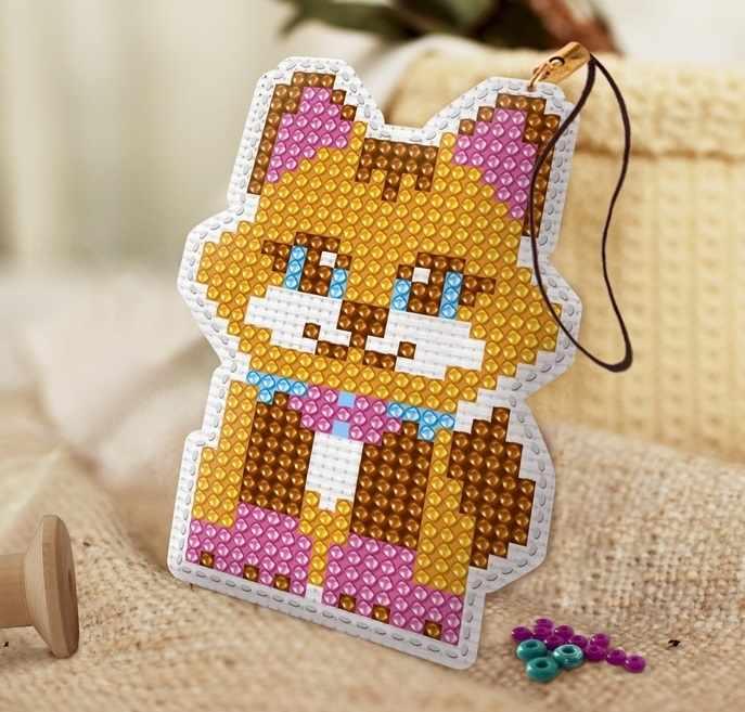 """3545672 Набор для вышивки бисером брелок """"Котик"""" + бисер 4 цвета, игла"""
