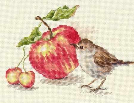 5-22 Птичка и яблоко