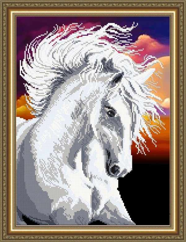 VKA3134 Белая лошадь - схема для вышивания (Art Solo)