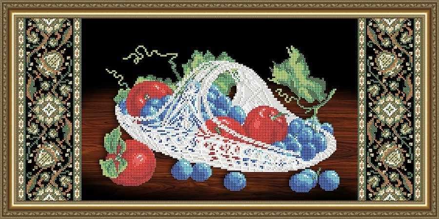 VKA3115 Хрусталь. Виноград и яблоки на черном - схема для вышивания (Art Solo)