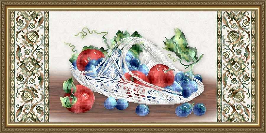 VKA3121 Хрусталь. Виноград и яблоки на бежевом - схема для вышивания (Art Solo)