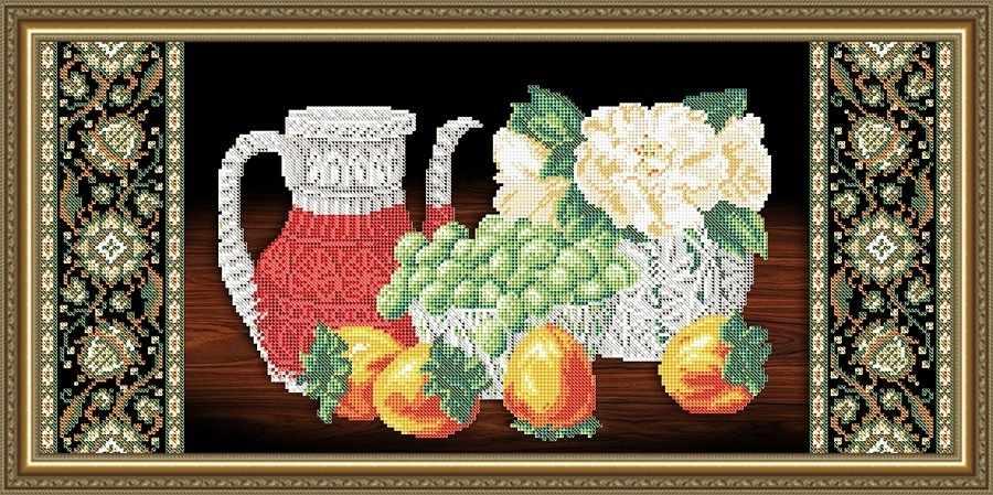 VKA3114 Хрусталь. Хурма и виноград на черном - схема для вышивания (Art Solo)