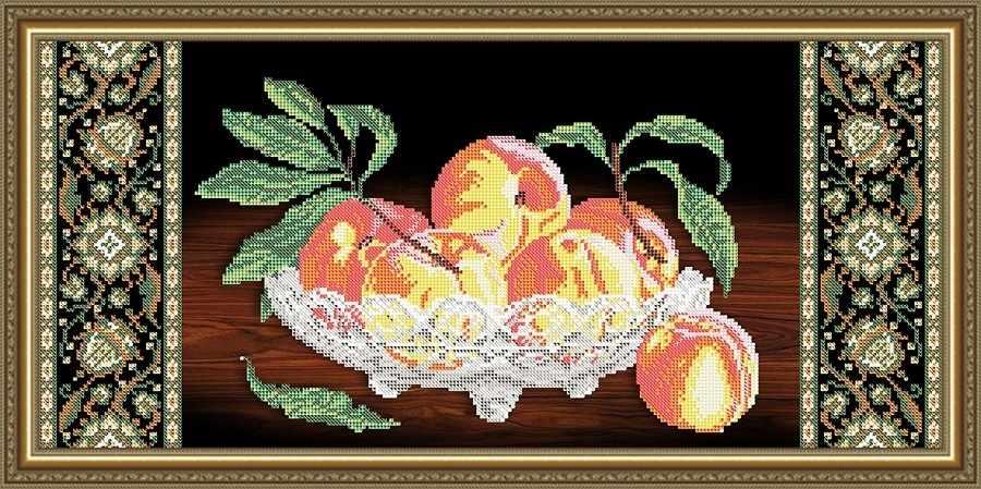 VKA3111 Хрусталь. Персики на черном - схема для вышивания (Art Solo)