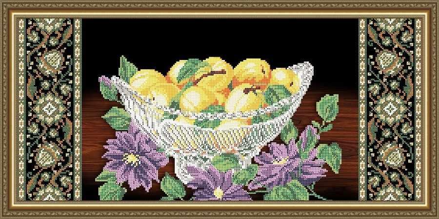 VKA3126 Хрусталь. Персики и клематис на черном - схема для вышивания (Art Solo)