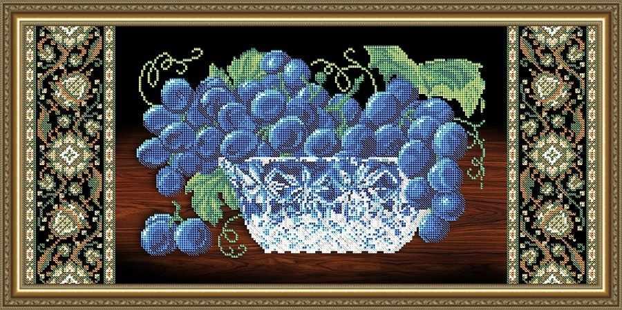 VKA3112 Хрусталь. Виноград на черном - схема для вышивания (Art Solo)