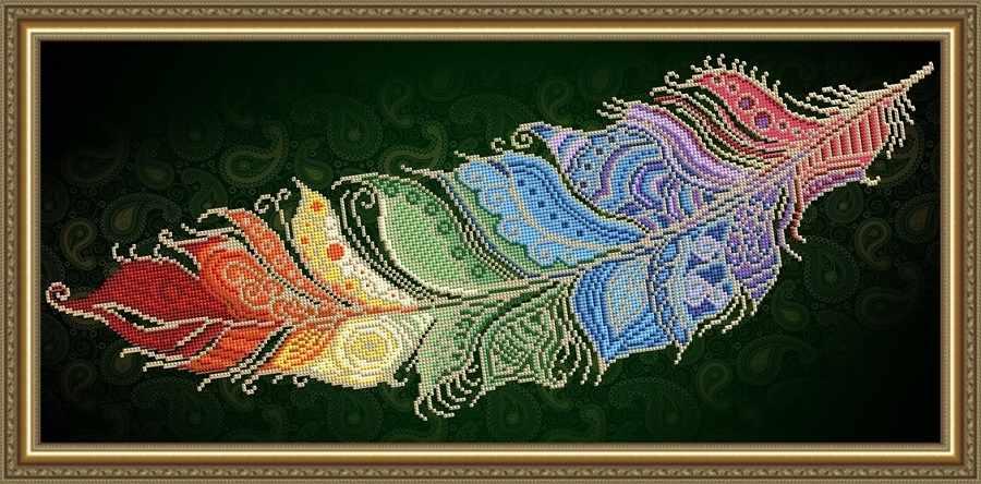 VKA3132 Перо жар-птицы на темном - схема для вышивания (Art Solo)