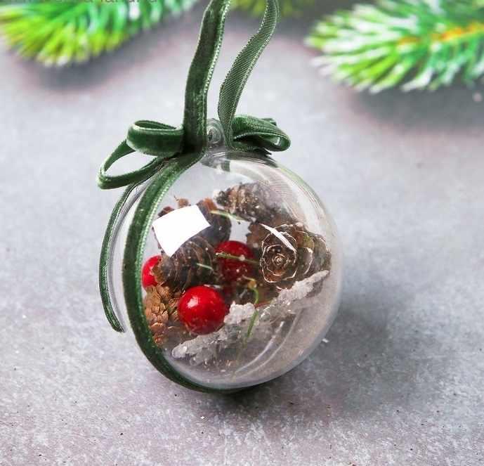 """3608261 Новогодняя подвеска с природным декором """"Ёлочный шарик"""""""