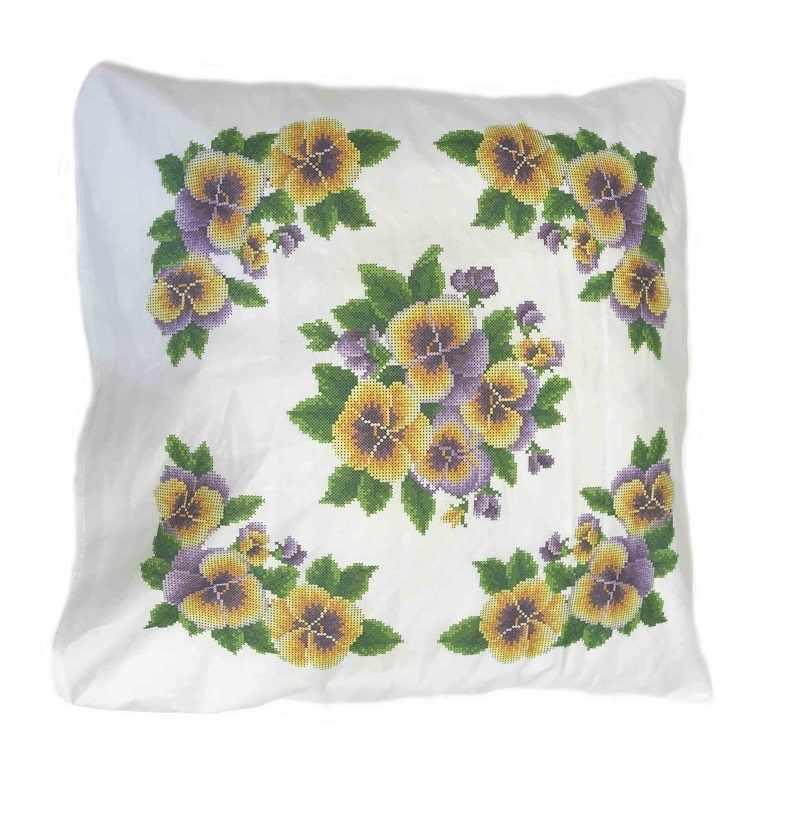 ККПН (бязь) 06 Анютины глазки- набор наволочка на подушку для вышивки крестом
