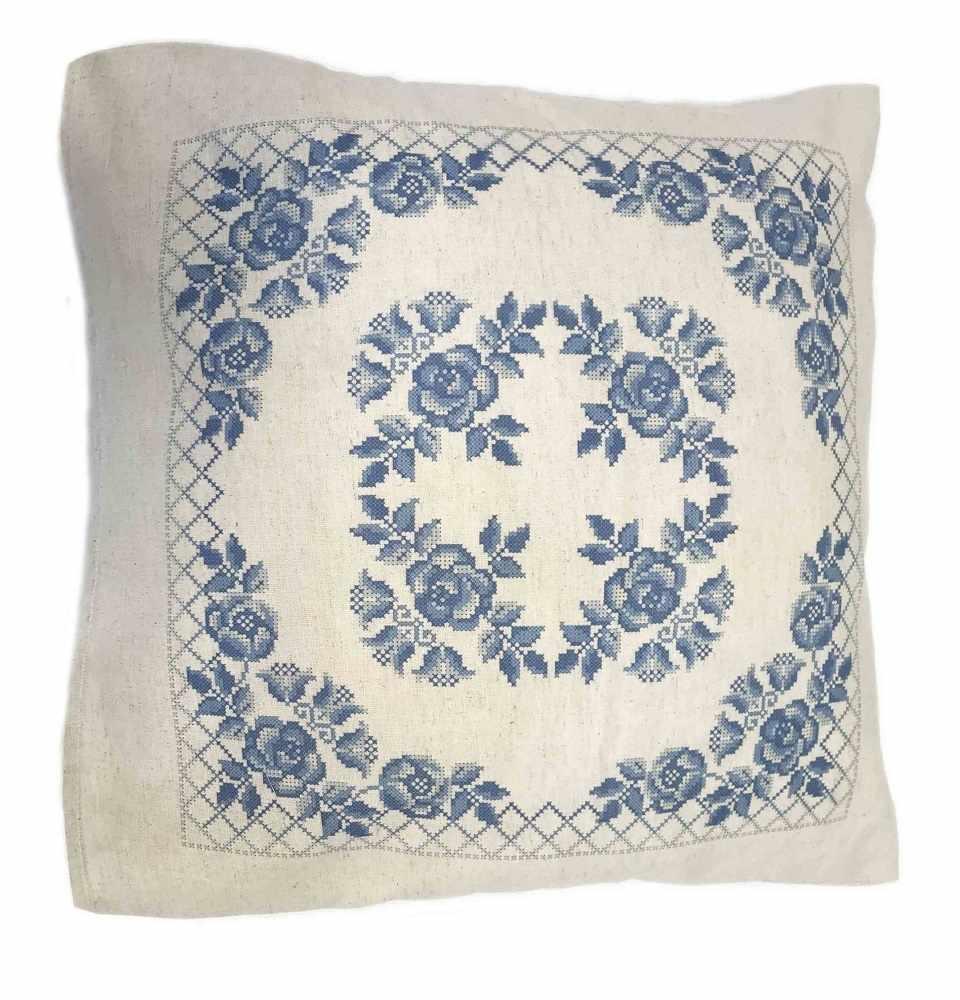 ККПН (лен) 04 Гжель- набор наволочка на подушку для вышивки крестом