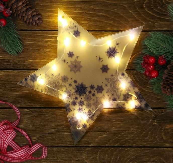 "3557124 Декор звезда с  гирляндой ""Снежинки"", 25 х 23,8 см"