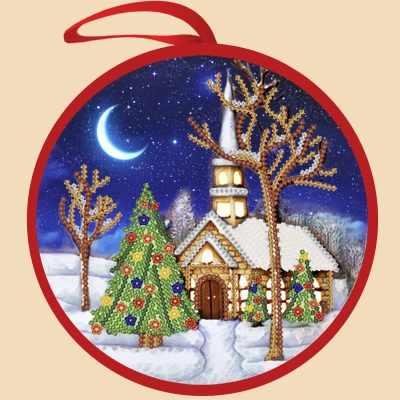 ИКБ-003 Елочная игрушка. Рождественская ночь - схема для вышивания (Марiчка)