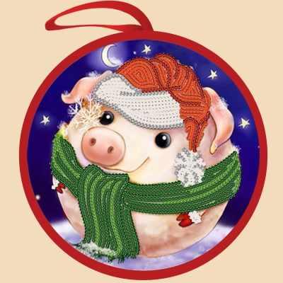 ИКБ-002 Елочная игрушка. Снежная свинка - схема для вышивания (Марiчка)