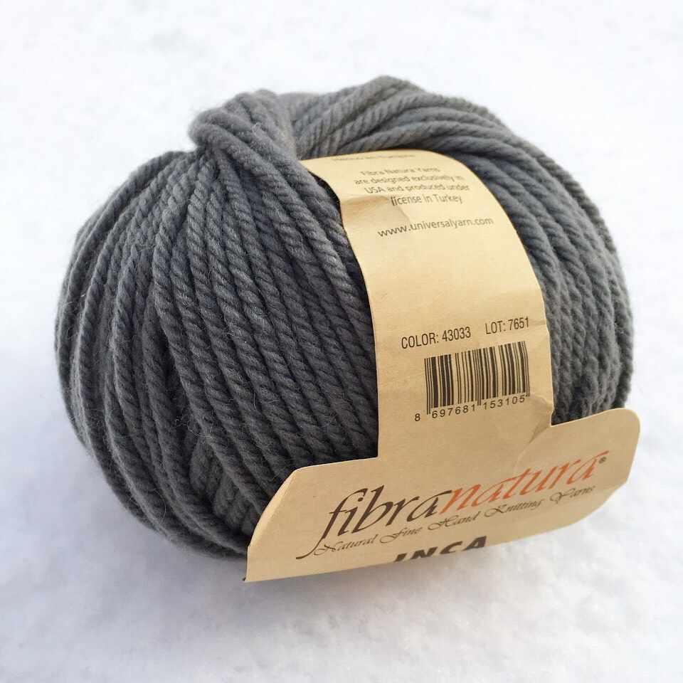Пряжа Fibra Natura Inca Цвет.43033 т.серый