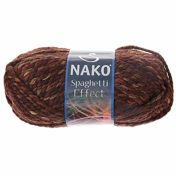 Пряжа Nako Spaghetti Effect Цвет.7511 коричн.пестрый