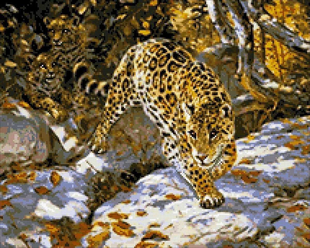 Алмазная вышивка М368 Леопарды - мозаика (Паутинка)