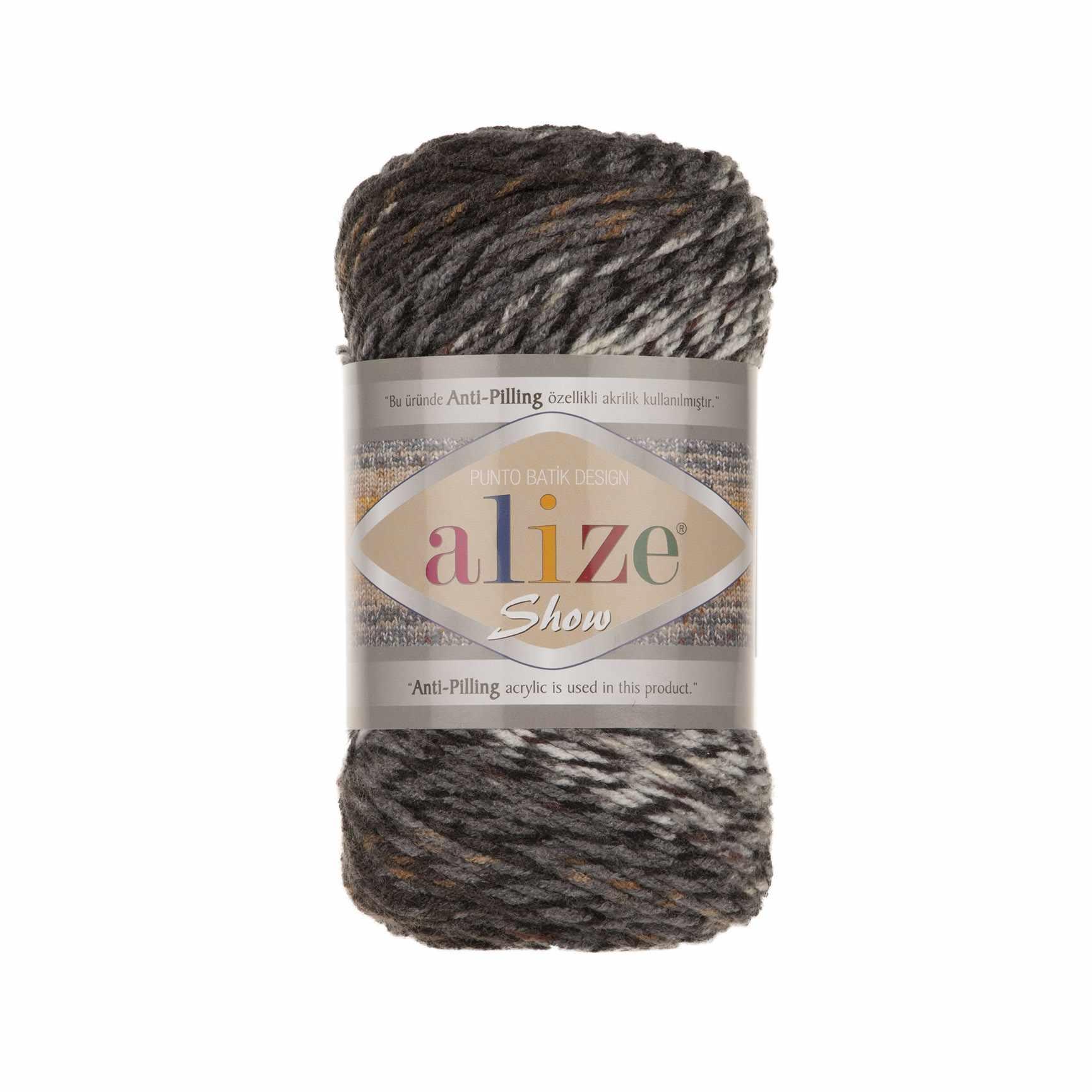 Пряжа Alize SHOW PUNTOBATIKDESIGN Цвет.6362 Бело-серый-черный