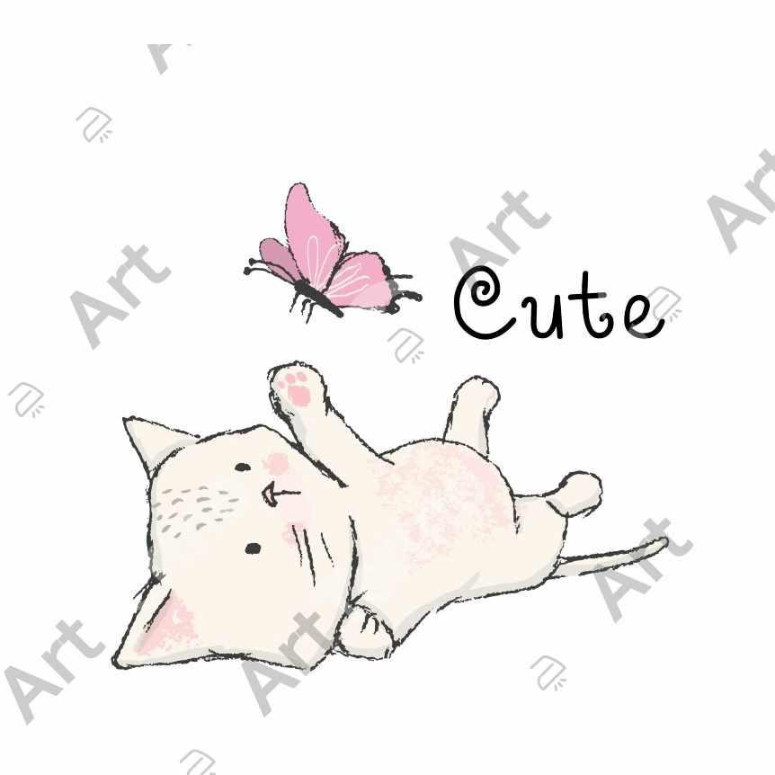 129 - Котенок с бабочкой. Надпись: Мило. 12,5х11см