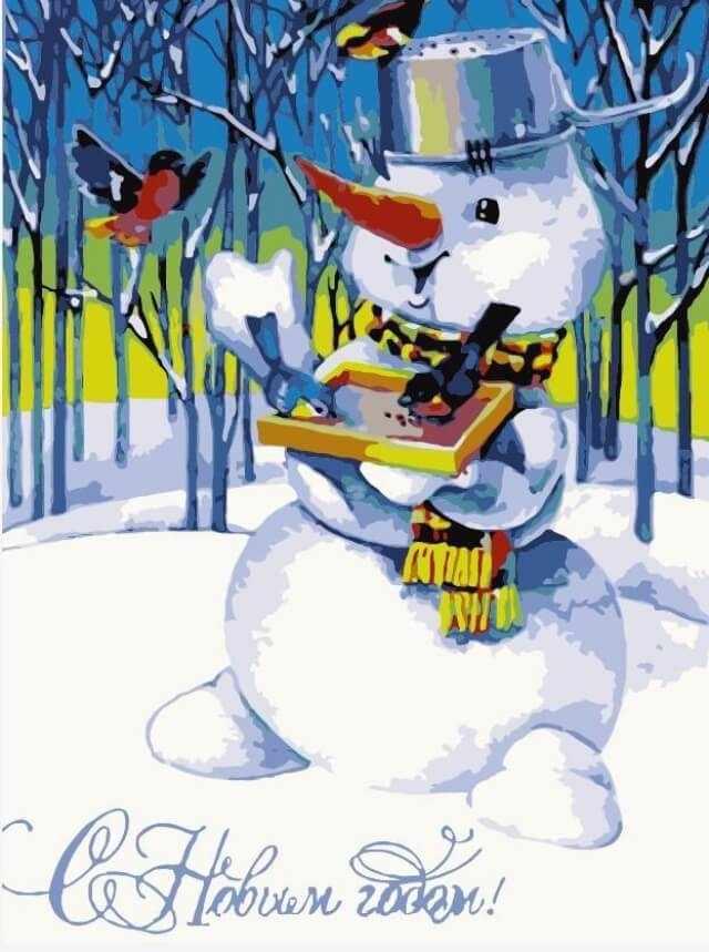 """Mc1052 """"Снеговик и снегири"""""""