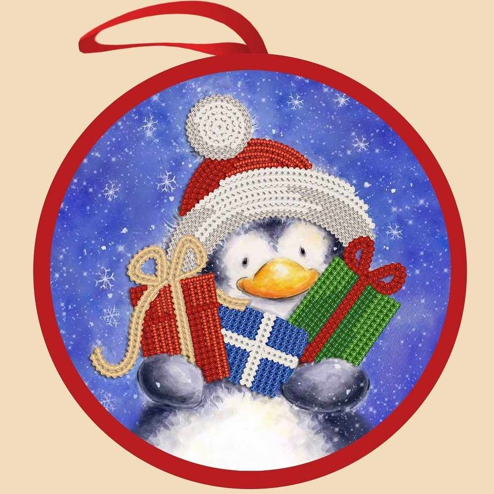 ИКБ-007 Елочная игрушка. Пингвин с подарками - схема для вышивания (Марiчка)