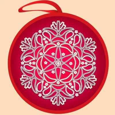 ИКБ-010  Елочная игрушка. Красный  шар - схема для вышивания (Марiчка)