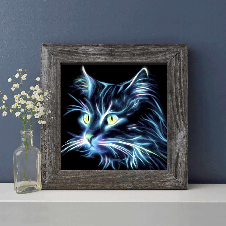 Алмазная вышивка Неоновый кот (АЖ-1709) - картина стразами