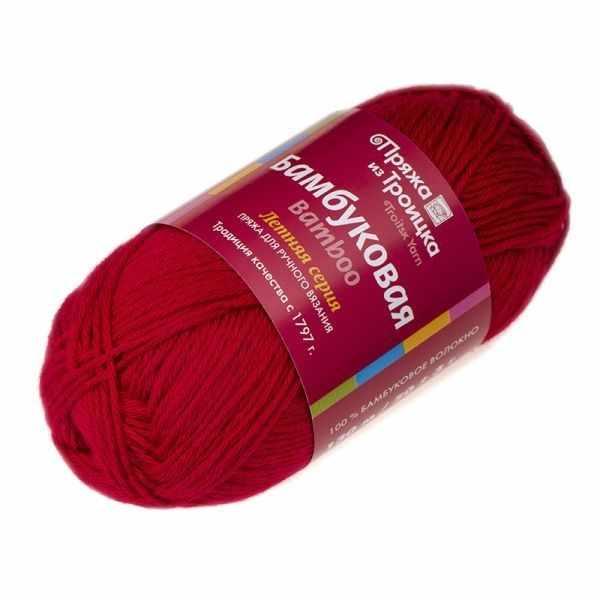 Пряжа Троицкая Бамбуковая Цвет.0040 Красный