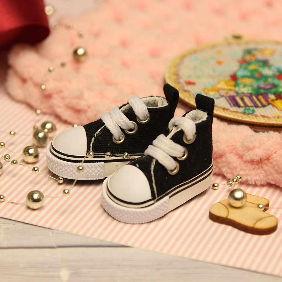 Кеды для куклы на шнурочках 5 см, черные