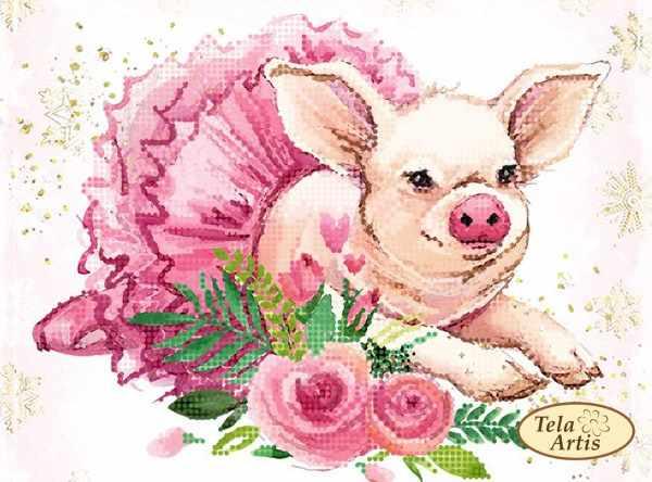 ТМ-132 - Свинка-балеринка - схема для вышивания (Tela Artis)