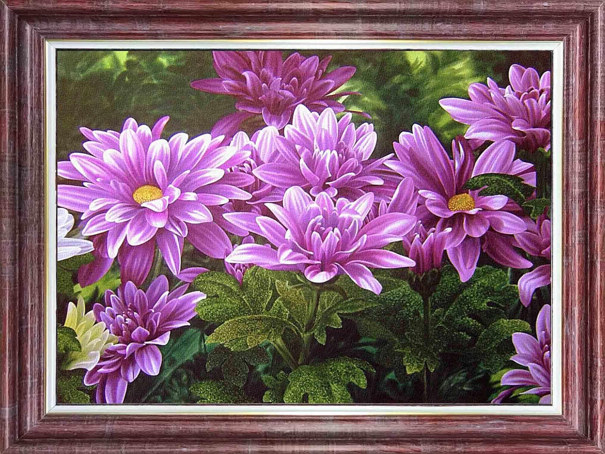 КЛ 4028 Розовые хризантемы - схема для вышивания (Каролинка)